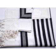 Shaharit Black Striped Lightweight non Slip Wool Elegant Tallit