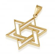 14K Gold Star of David Necklace Interwoven thin lines Design