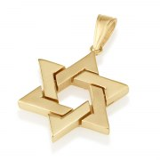 14K Yellow Gold Classic Interwoven Star of David Necklace