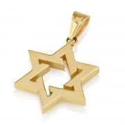 14K Yellow Gold Star of David Thick Interlock Design