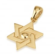 14K Yellow Gold Star of David Necklace Interlock with Center Dome