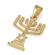 14K Gold Temple Menorah Pendant with Star of David