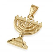 14k Gold Menorah Pendant with Flames