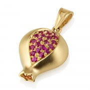 14k Gold and Rubies Pomegranate Necklace