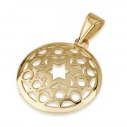 14K Gold Combined Stars of David Necklace in Round Frame