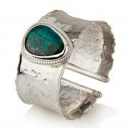 Sterling Silver Cuff Bracelet with Tear Drop Shaped Eilat Stone