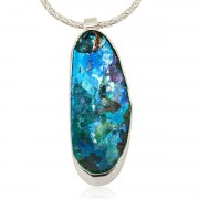 Sterling Silver Pendant with Oval Eilat Stone
