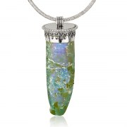 Sterling Silver Pendant with Roman Glass Tear Drop Design