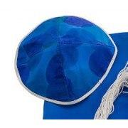 Galilee Silks Blue Silk Tallit Prayer Shawl with Flowers Design