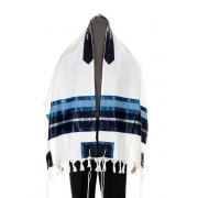 Galilee Silks Wool Tallit with Blue and White Stripes
