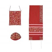 Yair Emanuel Maroon Tallit with Embroidered Flowers