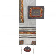 Yair Emanuel Gray Tallit with Embroidered Jerusalem