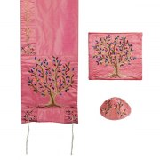 Yair Emanuel Pink Tallit Prayer Shawl with Embroidered Tree of Life