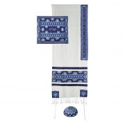 Yair Emanuel Star of David Embroidered Tallit with Blue Symbols