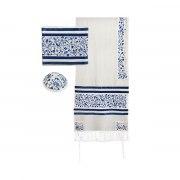 Yair Emanuel Tallit Prayer Shawl with Embroidered Blue Birds
