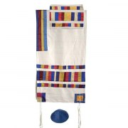 Yair Emanuel Raw Silk Tallit with Multicolored Stripes