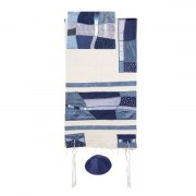 Yair Emanuel Tallit with Raw Silk Modern Pattern
