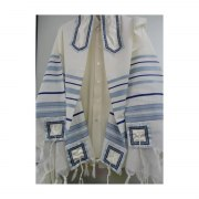 Galilee Silks Blue and Light Striped Wool Tallit Prayer Shawl