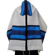 Acrilc Tallit with Blue Silk Stripes