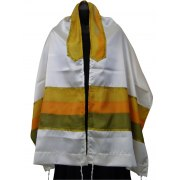 Acrilc Tallit with Green, Orange and Yellow Silk Stripes
