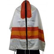 Acrilc Tallit with Orange Silk Stripes