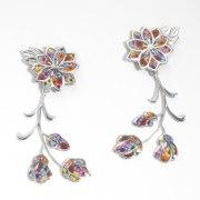 Adina Plastelina Frida Floral Silver Earrings