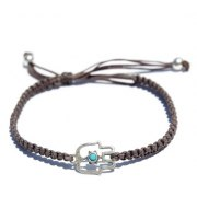 Hamsa Bracelet for Luck and Protection - Brown