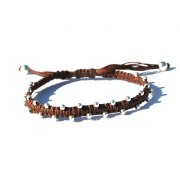 Woven Kabbalah Bracelet with Silver Bead Accents, Brown String