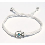 Woven White String Bracelet,Kabbalah, Star of David accent