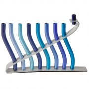 Aluminum Menorah Blue Wave Design by Yair Emanuel