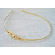 Anabelle - Filigree and Pearl Headband in Gold - Shlomit Ofir Designs