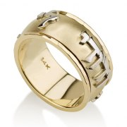 14K Gold Ani Ledodi Ring with Shiny Framing Edges