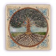 Handmade Tree of Life Square Plaque by Art in Clay