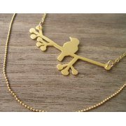 Bird on Branch Necklace in Gold, Large - Shlomit Ofir Jewelry