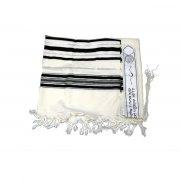 Black and Silver Stripes Prima AA Wool, Tallit Prayer Shawl