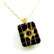 Black Leather Pendant with Gold Star of David - Emunah