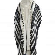 Black Striped Lightweight Wool Chabad Tallit Prayer Shawl