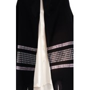 Galilee Silks Black Wool Jacquard Prayer Shawl