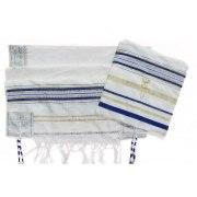 "Blue and Gold Christian Prayer Shawl Eng / Heb Verses (72"" x 33"")"
