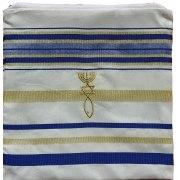 "Blue and Gold Christian Prayer Shawl  (72"" x 22"")"