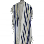 Blue and Gold Stripes Tallit Prayer Shawl (24X73 inch)