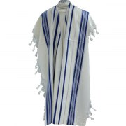Blue and Silver Stripes Prima AA Wool, Tallit Prayer Shawl