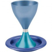 Blue  and Turquoise Anodized Alluminum Modern Kiddush Cup and Plate