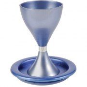 Blue Colored Anodized Alluminum Modern Kiddush Cup and Plate
