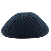 Blue Mesh Kippah with Pin Spot