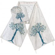Blue Tree of Life White Silk Rikmat Elimelech Tallit Prayer Shawl