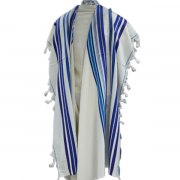 Bnei Or Wool Blue Stripes, Tallit Prayer Shawl
