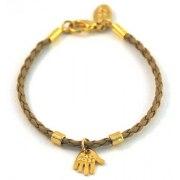Leather Kabbalah Bracelet, Hamsa pendant