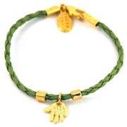 Green String Kabbalah Bracelet with Hamsa pendant