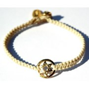 Braided String Bracelet with Gold Plated Star of David Pendant